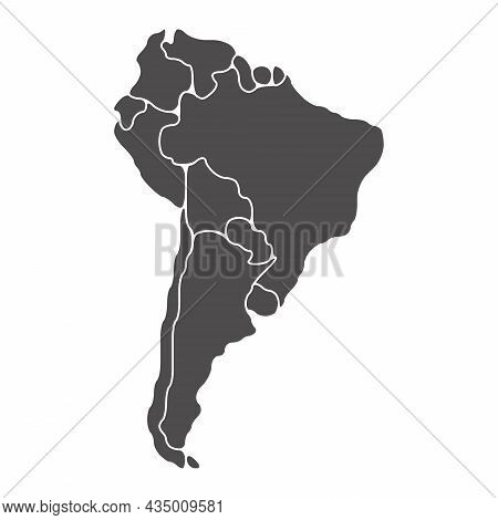 Simplified Schematic Map Of South America. Blank Isolated Continent Political Map Of Countries. Gene