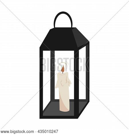 Metal Candle Lantern Holder With A Candle Inside. Vector Illustration Isolated On A White Background