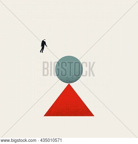 Business And Work Balance, Harmony, Vector Concept. Symbol Of Technology, Workflow, Process. Minimal
