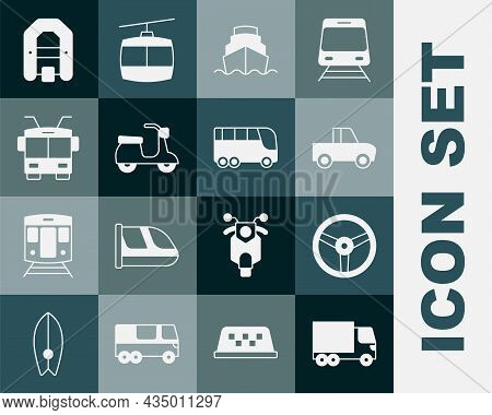 Set Delivery Cargo Truck, Steering Wheel, Pickup, Cruise Ship, Scooter, Trolleybus, Rafting Boat And