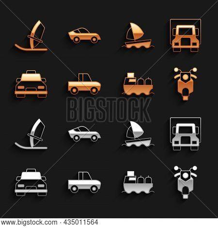 Set Pickup Truck, Delivery Cargo, Scooter, Oil Tanker Ship, Taxi, Yacht Sailboat, Windsurfing And Ca