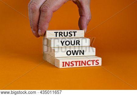 Trust Your Own Instincts Symbol. Wooden Blocks With Words 'trust Your Own Instincts'. Beautiful Oran