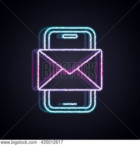 Glowing Neon Line Mobile And Envelope, New Message, Mail Icon Isolated On Black Background. Usage Fo