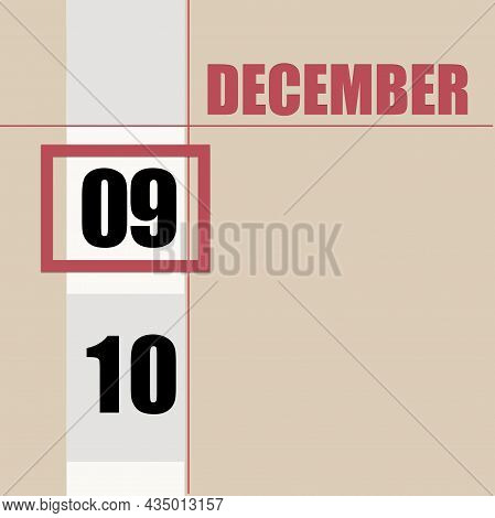 December 9. 9th Day Of Month, Calendar Date.beige Background With White Stripe And Red Square, With