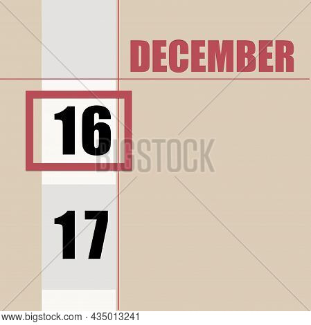 December 16. 16th Day Of Month, Calendar Date.beige Background With White Stripe And Red Square, Wit