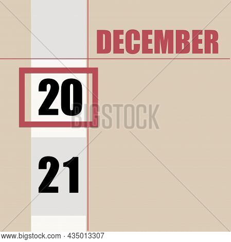 December 20. 20th Day Of Month, Calendar Date.beige Background With White Stripe And Red Square, Wit