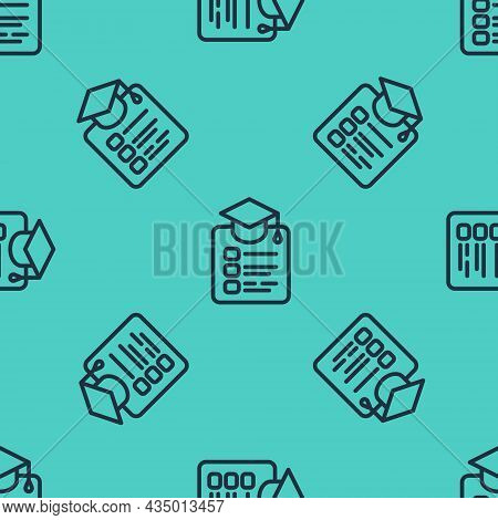 Black Line Online Education And Graduation Icon Isolated Seamless Pattern On Green Background. Onlin