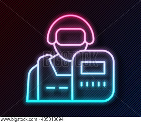 Glowing Neon Line Police Officer Icon Isolated On Black Background. Vector