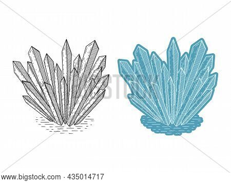 Set Of Crystals. Hand Drawn Line Art. Vector Illustration. Isolated On White. Doodle, Sketch. Monoch