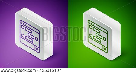 Isometric Line New Chat Messages Notification On Laptop Icon Isolated On Purple And Green Background