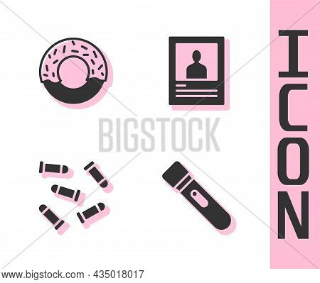 Set Flashlight, Donut, Bullet And Wanted Poster Icon. Vector