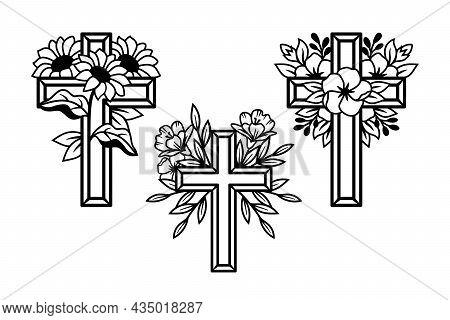 Religious Flower Crosses Set, Floral Cross, Faith Cross Line Drawing Vector Illustration