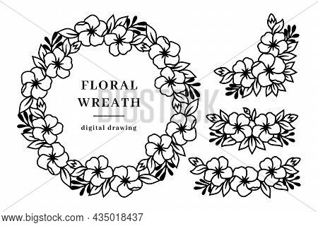 Set Of Floral Wreath, Flower Border And Floral Corner, Spring Flowers Wreath. Circle Monogram Line D
