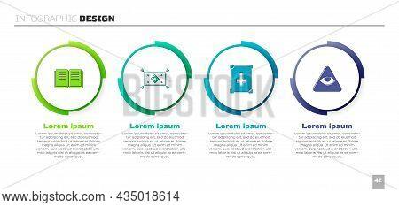 Set Ancient Magic Book, Magic Carpet, And Masons. Business Infographic Template. Vector