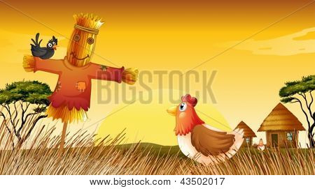 Illustration of a chicken with a scarecrow and a black bird at the field