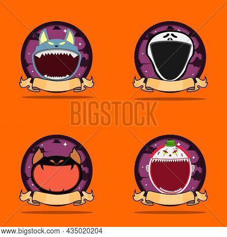 Emblem Set Head Monster. With Wolf, Scream, Creepy Bat And Creepy Clown Head Character Design. Vecto
