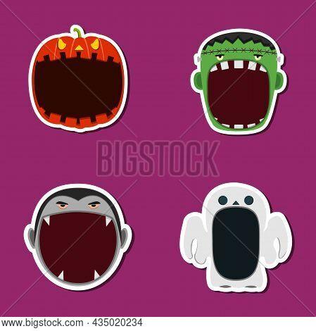 Halloween Head Set Design Sticker. Pumpkin, Frankensten, Dracula And Ghost Head Character. Vector An