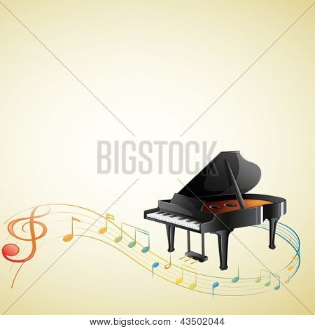 Illustration of a piano with a G-clef and musical notes on a white background