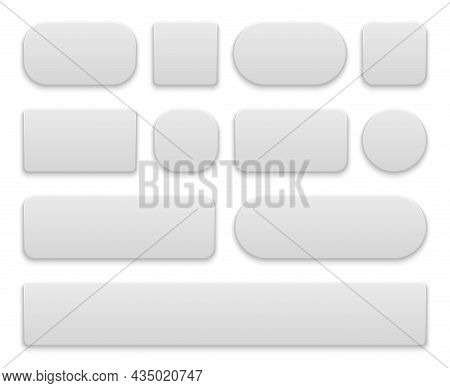 White Buttons. Oval And Round, Rectangle And Square Icons App, Different Shapes Wed Menu Panel. Plas