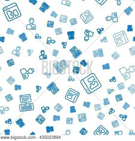 Set Line Server, Data, Web Hosting, Broken File And Analyst Engineer On Seamless Pattern. Vector