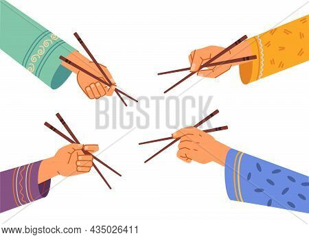 Hands Hold Chinese Chopsticks Isolated Flat Cartoon Set. Oriental People With Wooden Sticks In Arms,