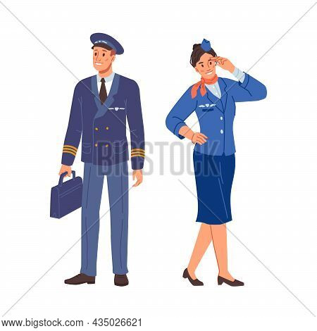 Stewardess And Airplane Pilot In Uniform Isolated Flat Cartoon Characters In Uniform. Aircraft Staff