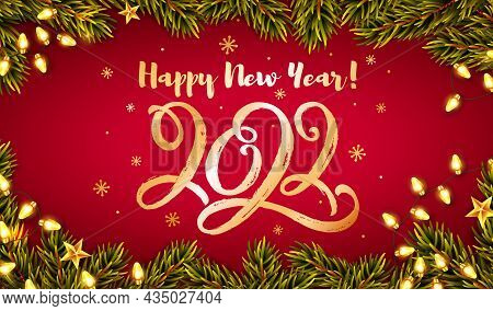 Happy New Year Greeting Card With Hand Lettering 2022. Horizontal Banner With Golden Handwritten Fig