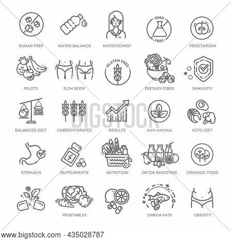 Web Set Of Nutrition, Healthy Food And Detox Diet Vector Thin Line Icons