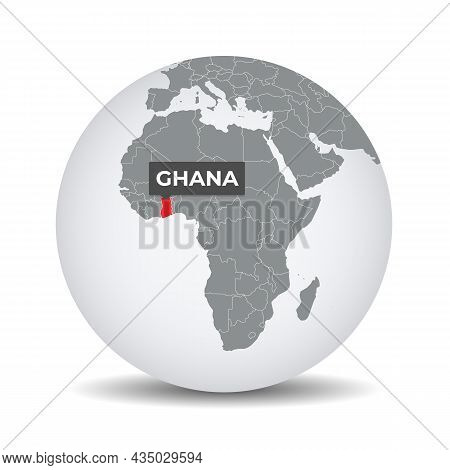 World Globe Map With The Identication Of Ghana. Map Of Ghana. Ghana On Grey Political 3d Globe. Afri