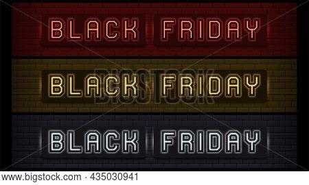Neon Black Friday Sale, Set Of Website Header. Glowing Neon Text Of Black Friday For Website Header
