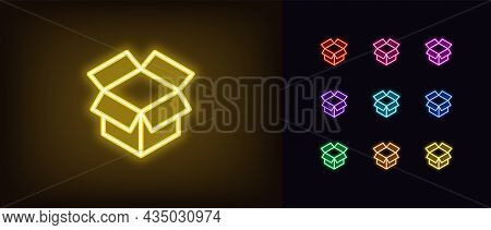 Outline Neon Unbox Icon. Glowing Neon Box Sign, Open Package And Cargo. Gift Unboxing, Goods Unpacki