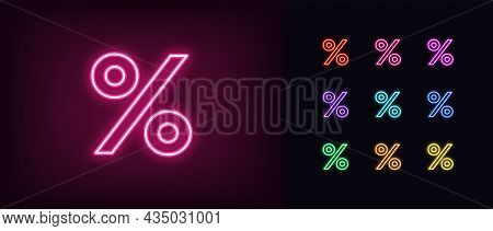 Outline Neon Percentage Icon. Glowing Neon Percent Sign, Discount Pictogram In Vivid Colors. Online