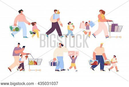 Shopping Family. Isolated People Buy Food, Shop Or Market Customers. Parents With Children Holding B