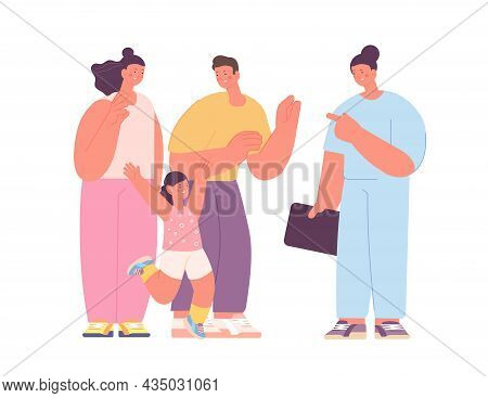 Family Doctor Visit. Cute Smiling People, Happy Jumpin Child Patient. Health Care, Physician Or Dent