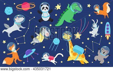 Cartoon Space Animals. Cute Astronaut Animal In Costume, Universe Travel On Spaceship. Kids Stickers