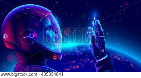Cosmonaut In Space Suit In Outer Space With Phone In Hand Looks At Screen And Makes Selfie. Astronau
