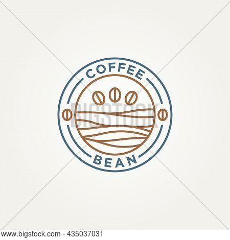 Coffee Bean Shop Minimalist Line Art Badge Logo Icon Vector Illustration Design. Simple Modern Linea