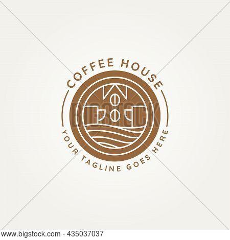 Coffee House Minimalist Line Art Badge Logo Symbol Icon Vector Illustration Design. Simple Modern Li