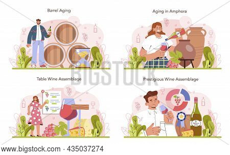 Wine Production Concept Set. Wine Aging In A Wood Barrel Or Clay Amphora.