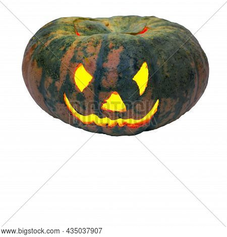 Evil Smile Of Jack O Lantern. Carved Face On Empty Green Pumpkin With Candle Lantern Inside. Isolate