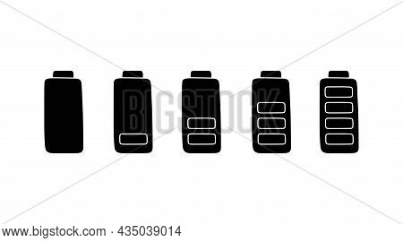 Battery Charge In Simple Style, Vector Illustration. Hand Drawn Silhouette, Energy Level Low And Ful