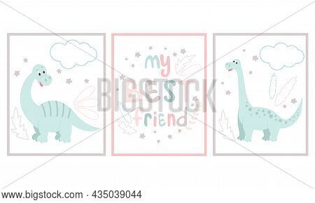 Set Of Baby Dinosaur Cards Or Posters. Collection Of Cute Funny Dino, Wall Decoration. Animal And Ha