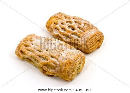 Apple Strudel Puff Pastry German, Isolated On A White Background