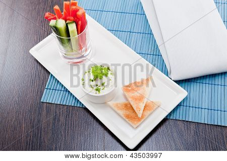 Fresh Vegetables And Cream Cheese Dip Snack