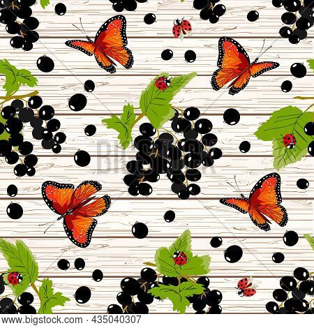 Black Currants And Butterflies In A Pattern.black Currants And Bright Butterflies On A Wooden Backgr