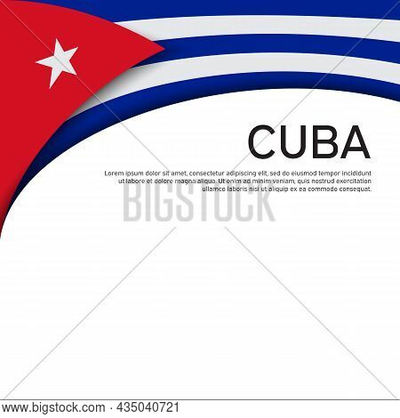 Cover, Banner In State Colors Of Cuba. National Cuban Poster. Abstract Waving Flag Of Cuba. Paper Cu