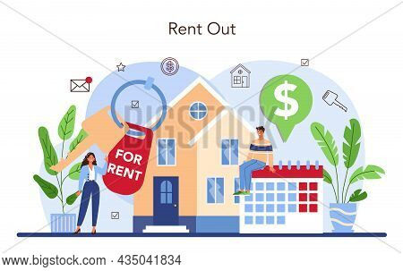 Real Estate Agency Service. Qualified Realtor Or Broker Help Customer