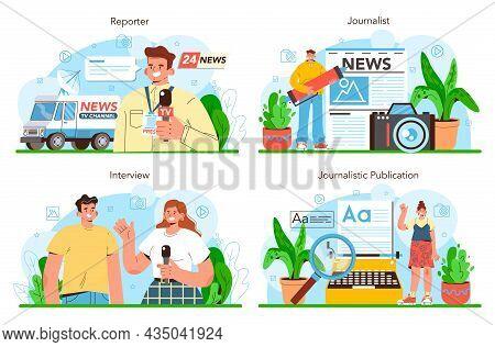 Journalist Concept Set. Newspaper, Internet And Radio Journalism. Tv Reporter