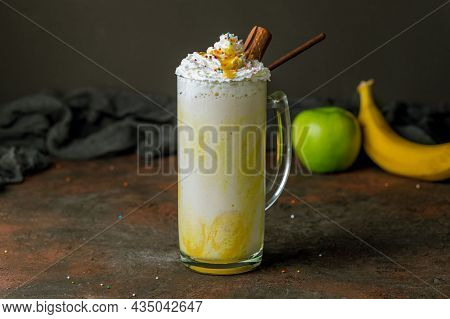 Oat Milk With Banana For Healthy Breakfast For Healthy People To Start Their Healthy Day