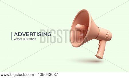 Advertising Concept, Realistic 3d Megaphone. Loudspeaker Or Bullhorn On Light Background. Vector Ill